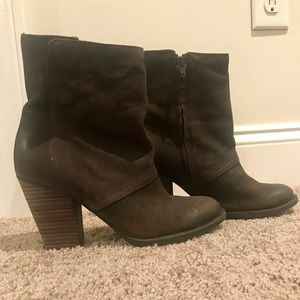 Aldo Chocolate Brown Suede Ankle Booties